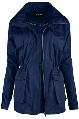 ViiViiKay Womens Cotton Anorak Lightweight Utility Parka Jackets with Drawstring IJ1189 NAVY S