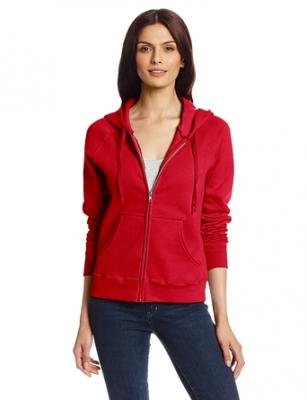 Hanes Women's Full Zip EcoSmart Fleece Hoodie, Red, Small