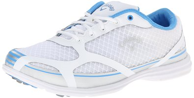 Callaway Footwear Women's Solaire Golf Shoe, White/Blue, 5 M US