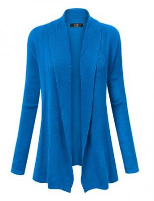 MBJ WSK904 Womens Open Front Draped Knit Shawl Cardigan S BLUE