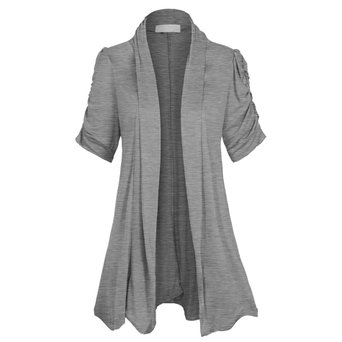 Women's Open Front Ruched Short Sleeve Shark Bite Hem Casual Plus Size Cardigan