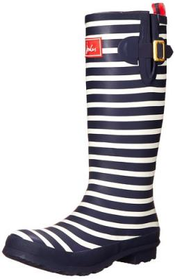 Joules Women's Welly Print Rain Boot, French Navy Stripe, 5 M US