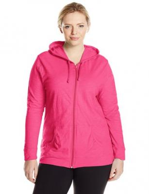 Just My Size Women's Full Zip Jersey Hoodie, Amaranth, 1X