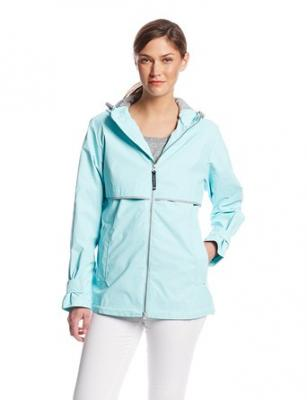 Charles River Apparel Women's New Englander Waterproof Rain Jacket, 236 Aqua/Reflective, Medium