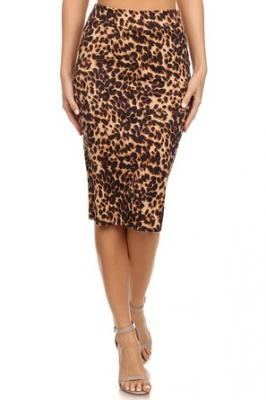 Azule Women's Below the Knee Pencil Skirt for Office Wear - Made in USA-Animal Print, S