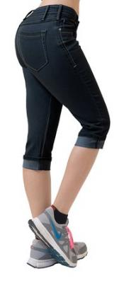 Women's Perfectly Shaping Stretchy Denim Capri-Q22885-BLUE BLACK-1