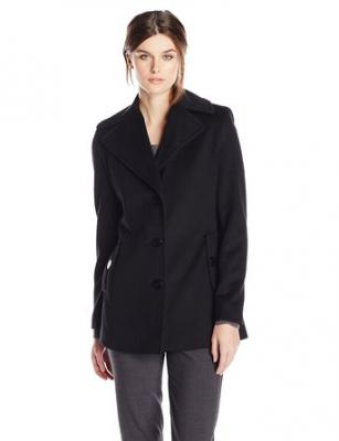 Calvin Klein Women's Single Breasted Wool Coat, Black, 2