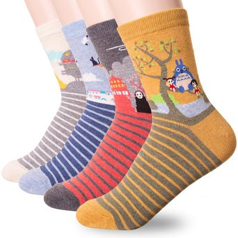 Famous Japanese Animation Print Crew Socks