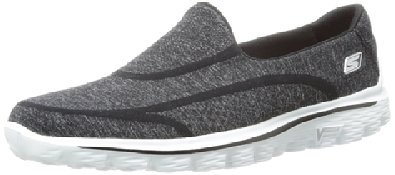 Skechers Performance Women's Go Walk 2 Super Sock Slip-On Walking Shoe,Old Black White,5 M US