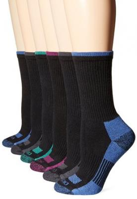 Dickies Women's 6 Pack Dri-Tech Advanced Moisture Wicking Crew Socks,Black Assorted, Sock size 9-11/Shoe size 6-9