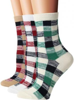 Flora &Fred Womens 3 Pair Pack Vintage Style Colorful Plaid Cotton Crew Socks Colorful Plaid shoe 5-9