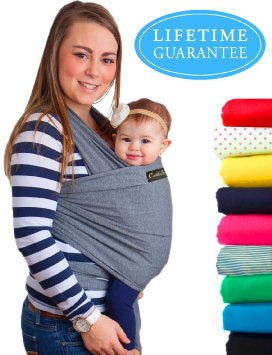 4-in-1 CuddleBug Baby Wrap Carrier | Soft Baby Carrier | Baby Sling Carrier | Postpartum Belt | Nursing Cover | Best Baby Shower Gift (Grey)