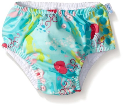 i play. Baby Girls' Ruffle Snap Reusable Swim Diaper, Aqua Coral Reef, 6 Months