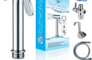 Bumworks Cloth Diaper Toilet Sprayer Kit by Kaydee Baby - Brass Chrome Hand Held Bidet Shattaf, Metal Hose, T-Valve (7/8 inch), and Mounting Clip Attachment Adapter