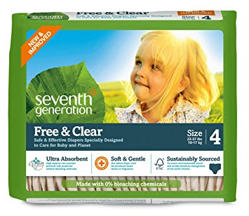 Seventh Generation Baby Diapers, Free and Clear for Sensitive Skin, Original Unprinted, Size 4, 135 Count