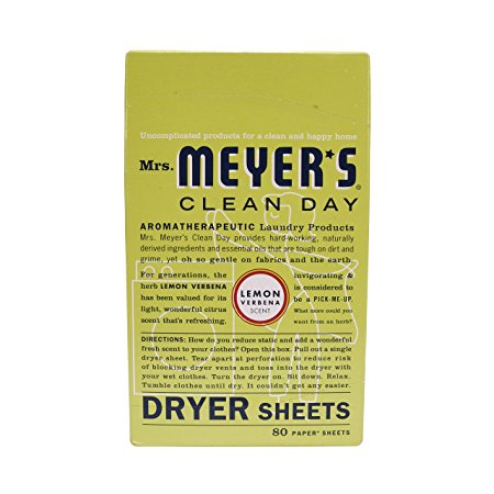 Mrs. Meyer's Clean Day Dryer Sheets, Lemon Verbena, 80 Count