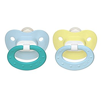 NUK Juicy Puller Silicone Pacifier in Blue and Yellow, 0-6 Months, 2 Count