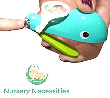 "NAIL WHALE - #1 Best Baby & Child Nail Clippers - ""Eats"" Nail Clippings - Magnifier & Finger Safety Stabilizer - By Nursery Necessities"