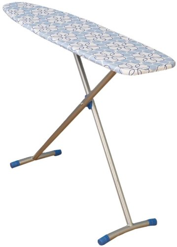 Household Essentials Classic T-Leg Ironing Board with Cotton Cover, Blue Floral Cover