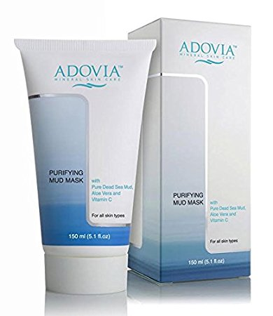 Adovia Facial Mask with Dead Sea Mud - Mud Mask for Men & Women - Reduces Acne & Blemishes - Lightens Skin & Scars - Natural Face Mask, Exfoliator & Facial Cleanser - Minimizes Pores - Removes Toxins