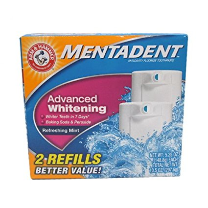 Mentadent Toothpaste, Advanced Whitening, 2Ct 5.25 oz. each (Pack of 3)