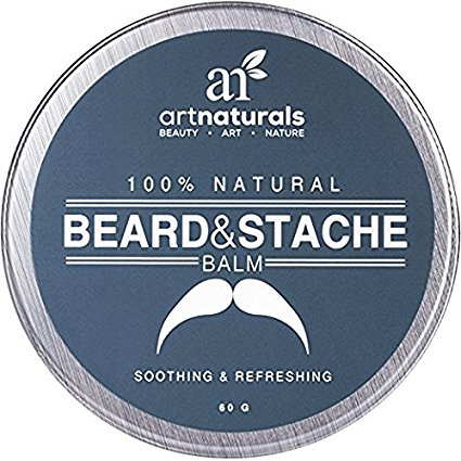 Art Naturals Beard & Mustache Balm / Oil / Wax / Leave In Conditioner 2.0 oz - 100% Natural Conditioning that Soothes Itching - Thickens, Strengthens, Softens, Tames & Styles Facial Hair Growth.