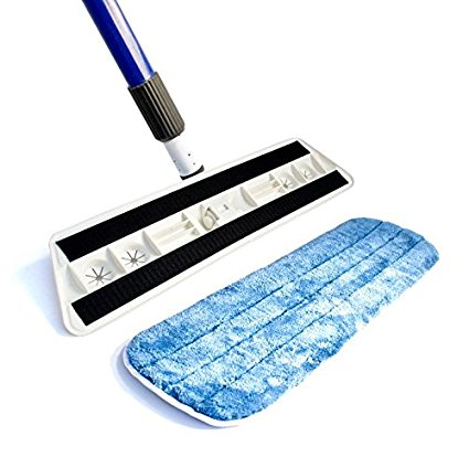"Kitchen + Home - Professional Microfiber Mop Floor Dust Mop with 17"" Washable Reusable Dry Microfiber Mop Pad"