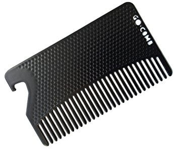 Go-Comb - Wallet Comb + Bottle Opener - Hair + Beard Comb - Matte Black