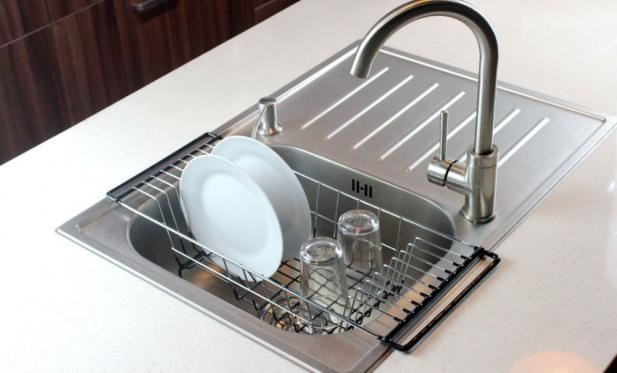 the neato overthesink kitchen dish drainer rack is made of chromium steel in for small families