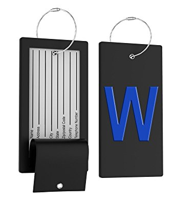 Luggage Tag Initial Bag Tag - Fully Bendable Tag w/ Stainless Steel Loop