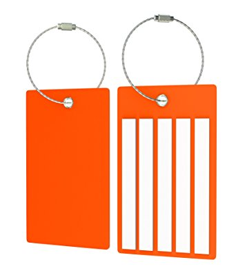 Travel Suitcase Luggage Bag Tags, Airlines Baggage Labels (4 Tags Orange)