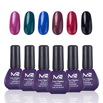 MelodySusie Gel Nail Polish Set, Lux Classics 1 Step Nail Gel Kit, Six Colors with Black, Long Lasting, No Base and Top Coat Needed, Quick Curing with LED or UV Nail Dryer, Easy Soak Off