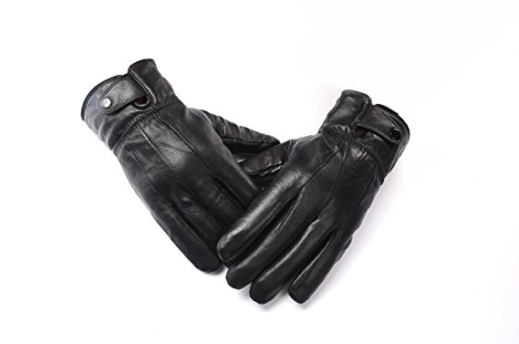 Anccion Men's Genuine Leather Warm Lined Driving Gloves, Motorcycle Gloves (Large)