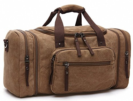 Kenox Oversized Canvas Travel Tote Luggage Weekend Duffel Bag (Coffee)