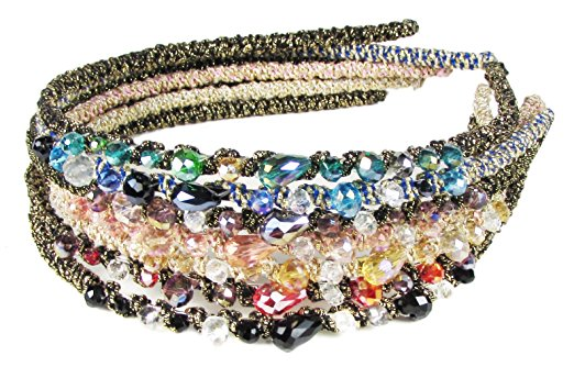 HipGirl Girls / Women Jewel Headbands (7pc Set Bejeweled Sparkle Headbands)
