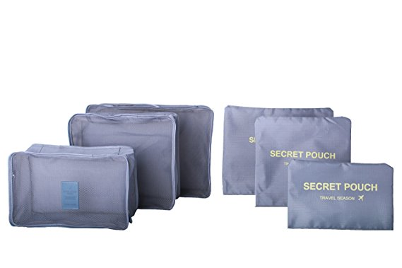 6 sets travel Organizers Packing Cubes Luggage Organizers Compression Pouches (gray)