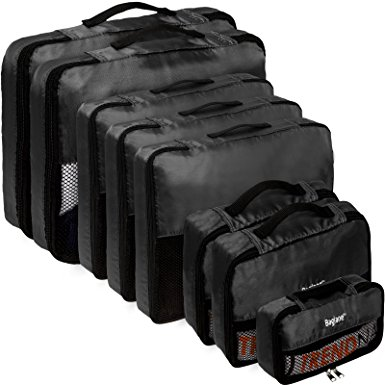 Baglane Packing Cubes - TechLife Travel Luggage 8pc Set (Black)