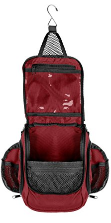 Compact Hanging Toiletry Bag, Personal Organizer | Rugged & Water Resistant with Mesh Pockets & Sturdy Hook | Red