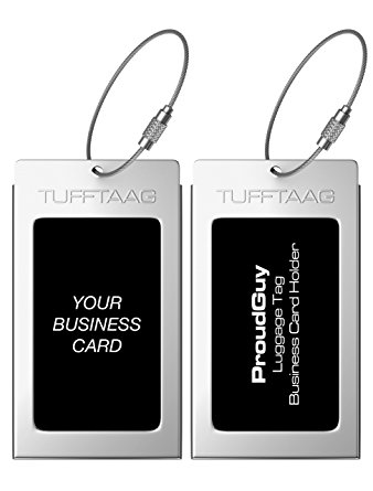 Luggage Tags Business Card Holder TUFFTAAG PAIR Travel ID Bag Tag in 8 Color Options - Stainless Steel