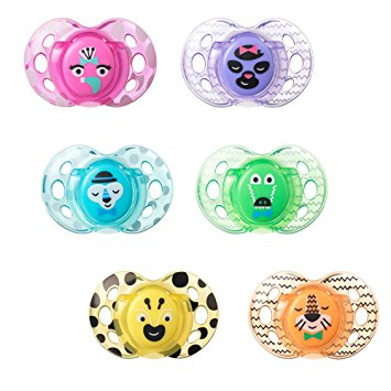 Tommee Tippee Closer to Nature Fun Pacifier, 6-18 Months, 2 Count (Colors will vary)