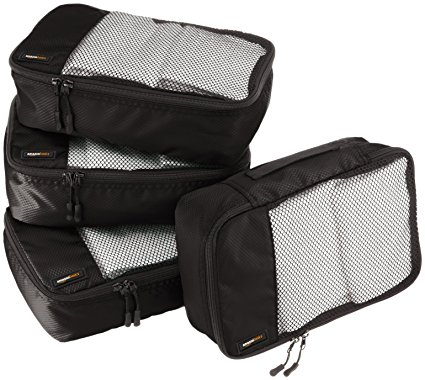 AmazonBasics 4-Piece Packing Cube Set - Small, Black