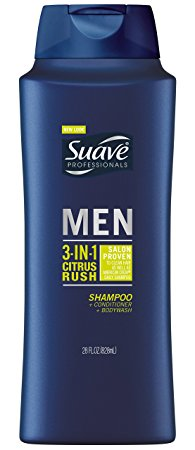 Suave Professionals Men 3-in-1 Shampoo + Conditioner + Body Wash, Citrus Rush 28 oz