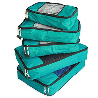 TravelWise Packing Cube System - Durable 5 Piece Weekender Plus Set [2014 Version] (Teal)