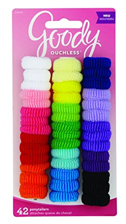 Goody Ouchless Tiny Terry Ponytailers, Girls, Assorted Basic Colors, 42-count(1942341)