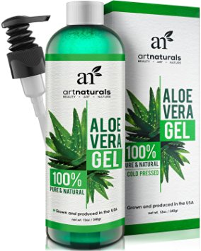 Art Naturals Aloe Vera Gel for Face, Hair & Body - 12 Oz Organic, 100% Pure Natural & Cold Pressed - For Sun Burn, Eczema, Bug or Insect Bites, Dry Damaged Aging skin, Razor Bumps and Acne
