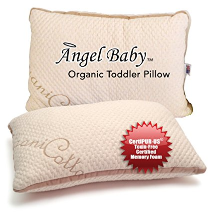 Angel Baby ORGANIC Toddler Pillow - CertiPUR-US TOXIN FREE that Keep Kids COOL, Full Neck Support - USA/Oeko-Tex Certified Cotton Cover, Machine Washable, Hypoallergenic 13x18 (case sold separately)