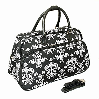 World Traveler 21-Inch Carry-On Shoulder Tote Duffel Bag, Black White Damask II, One Size