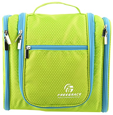 Premium Toiletry Bag By Freegrace - Extra Large Travel Essentials Organizer - Durable Hanging Hook - For Men & Women - Perfect For Accessories, Cosmetics, Personal Items, Shampoo (Green)