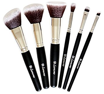 Travel Makeup Brush Set - Professional Kit with 6 Essential Face and Eye Makeup Brushes - Kabuki Eyeshadow Powder Foundation Blush - Synthetic Bristles of Premium Quality for Airbrushed Finish - Available in White and Black