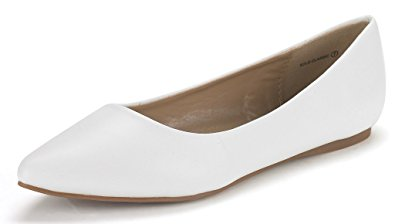 DREAM PAIRS SOLE CLASSIC Women's Casual Pointed Toe Ballet Comfort Soft Slip On Flats Shoes WHITE PU SIZE 7